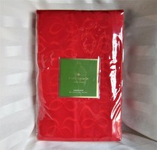 Kate Spade Christmas Red Tablecloth All Wrapped Up Cranberry Bows 60 x 1... - $36.76