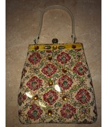 Vintage Beaded Gold Leaf Needle Point Purse Old Antique Purse - $64.99