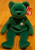 Ty Beanie Baby Green Erin The Bear Plush Stuffed Animal - $15.35