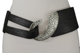 New Women Elastic Black Fashion Belt Hip Waist Silver Metal Hook Buckle Size S M - $15.67