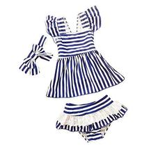 PANDA SUPERSTORE Headband Girls Two-Piece Swimsuit Swimwear Stripe Pattern, 18.5
