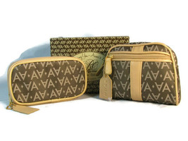 Avon Signature Collection Brown Cosmetic Bag & Travel Jewelry Pouch Set  - $37.61