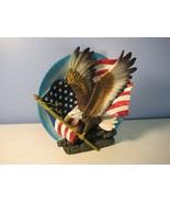 American Flag & Bald Eagle Cast Resin Relief Plate Decor Sculpture - $11.09