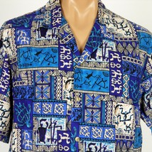 Hawaiian Aloha Shirt Mens XL Petroglyphs Tapa Evergreen Island Made In H... - $28.04
