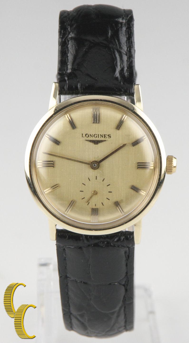 2b7dea334b1d Longines Vintage Clásico 14k Oro Hombres Reloj De Pulsera Cuero Cuerda  manual