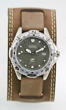 Fossil Watch Mens Stainless Steel Silver Brown Wide Leather Date 50m Gra... - $35.07