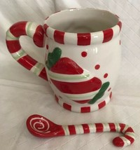 Cracker Barrel Ceramic Christmas Embossed Sweets & Treats Mug & Spoon Set Candy image 2