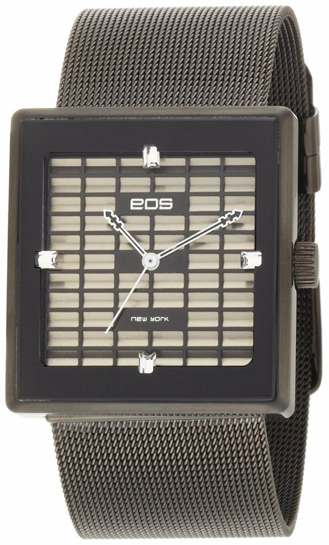 EOS New York Unisex 303SBLK Petra Stainless Steel Mesh Black Analog Watch NIB
