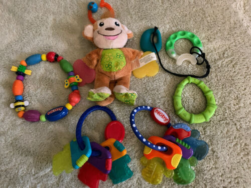 Primary image for Lot Of 6 Baby Teether Toys Nuby Ring Keys Fleece Monkey Green Teal Necklace Toys