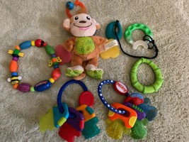 Lot Of 6 Baby Teether Toys Nuby Ring Keys Fleece Monkey Green Teal Necklace Toys - $16.93