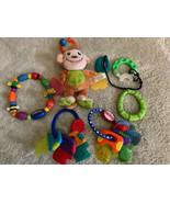 Lot Of 6 Baby Teether Toys Nuby Ring Keys Fleece Monkey Green Teal Neckl... - $16.93
