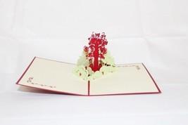 Love Heart tree Pop Up Greeting Card Handmade Happy BirthdayAnniversary 43 - $4.99