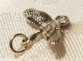 Duck  Flying Bird STAMPED 925 STERLING SILVER CHARM