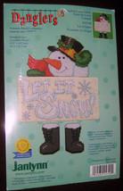 "SNOWMAN Let it Snow Counted Cross Stitch Kit Dangler 6.75""  x 9.5"" New Snowmen - $11.87"