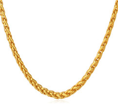 U7 Cool Spiga Chain for Men Long 316L Stainless Steel Necklace 3MM 22' - $40.52