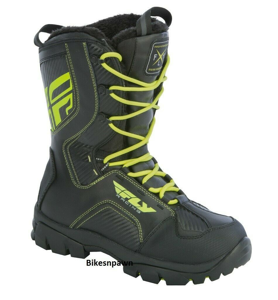 New Mens FLY Racing Marker Black/Hi-Viz Sz 12 Snowmobile Winter Snow Boots -40 F