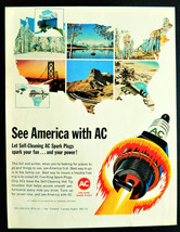 Vtg 1965 AC spark plugs USA outline map retro advertisement print ad  - $14.49