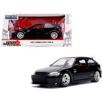 1997 Honda Civic Type R Glossy Black with Carbon Hood JDM Tuners 1/24 Diecast Mo - $30.60