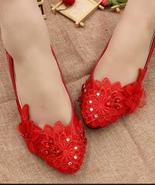 Bridal Shoes,Ladies Blush Red Lace up Wedding Slip Ons Flats Shoes US 8,... - £30.95 GBP