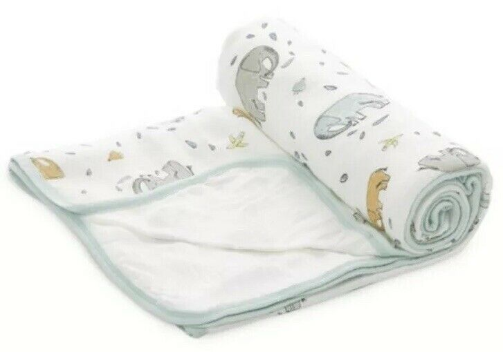 Primary image for ADEN + ANAIS Bamboo Muslin STROLLER BLANKET Elephants Ellie Parade Mint