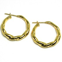 "18K YELLOW GOLD EARRINGS, HOOPS, CIRCLE DIAMETER 26 MM, 1.0"", BRAID, TWISTED image 1"