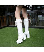 88B055 Lace up block heel boot, Size 4-10.5, white - $62.80
