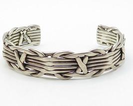 MEXICO 925 Silver - Vintage Modernist Linear Designed Cuff Bracelet - B3553 - $139.99