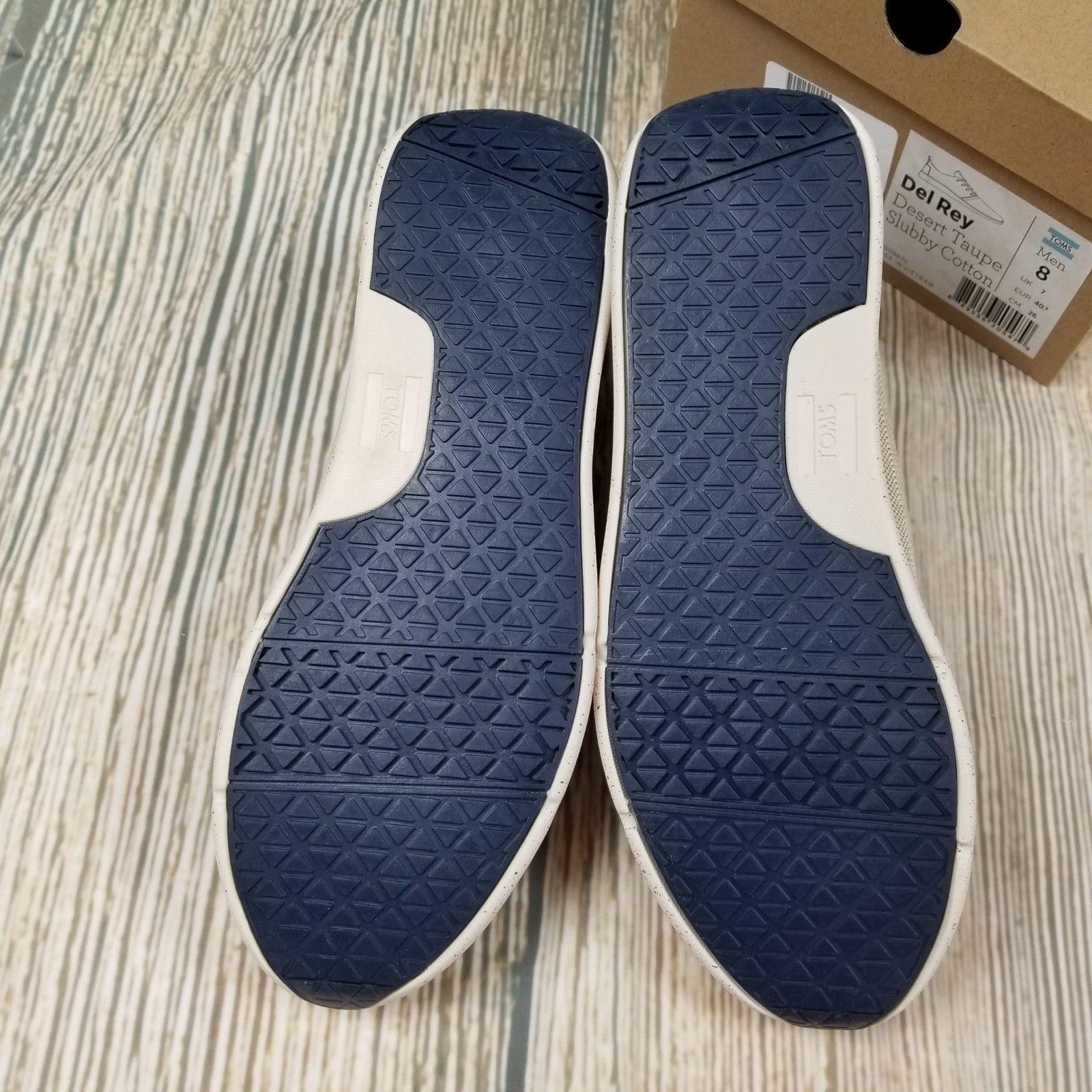 87c3d895cce New TOMS sz 8 mens Del Rey desert taupe slubby cotton lace up sneakers