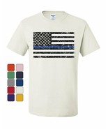 American Flag Thin Blue Line T-Shirt Police USA Law Enforcement Tee Shirt - $8.56+
