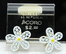 Vintage CORO Signed White Yellow Enamel Daisy Flower Clip Earrings - $19.80