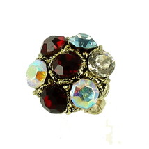 VINTAGE 1960's KNUCKLE BUSTER GIANT RHINESTONE RING ADJ 8-10.5 OUTRAGEOU... - $40.49