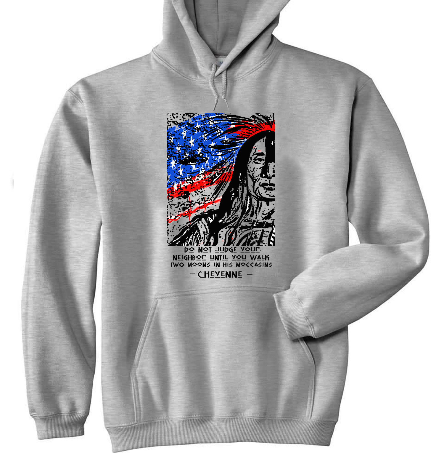 AMERICAN NATIVE INDIAN DO NOT JUDGE QUOTE - NEW COTTON GREY HOODIE