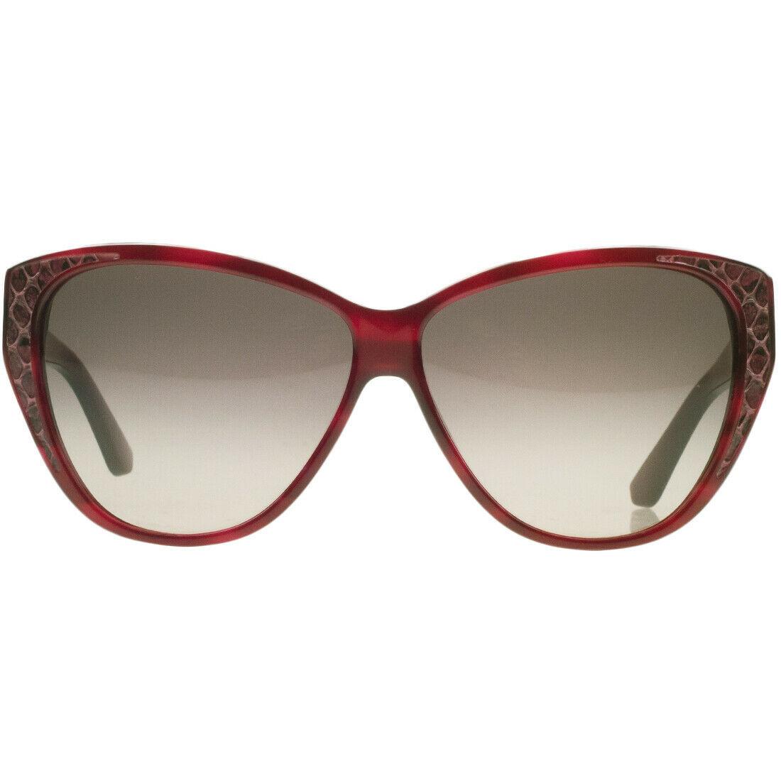 Salvatore Ferragamo SF711 616 Striped Red Cat Eye Leather Womens Sunglasses 59mm
