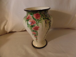 DON SWANSON HAND PAINTED ONE OF A KIND FLORAL DESIGNS VASE - $240.00