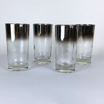 Four Vintage Tumbler High Ball Glasses Mid Century Silver Fade Glass Ware - $19.80
