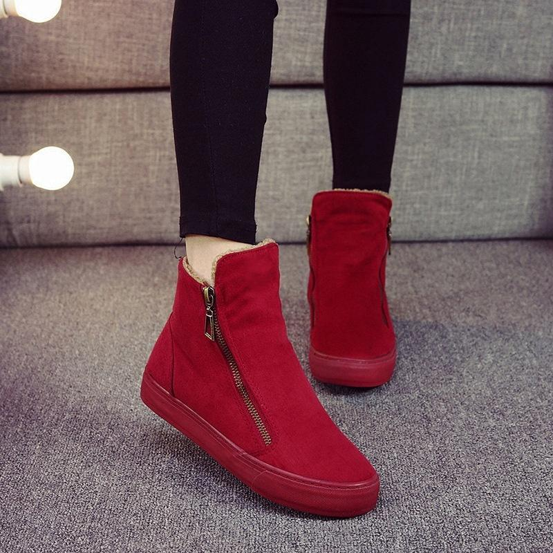Autumn Winter New Women Snow Boots Fashion Zippers Cotton Ankle Boots For Women