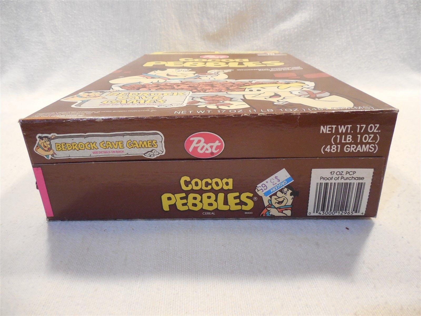 Flintstones 1991 Post Cocoa Pebbles Cereal Box Bedrock Bendable Band Toy Dino