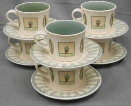 Set (6) Pfaltzgraff Portfolio Naturewood Pattern Cups/Saucers Made In Usa - $39.59
