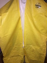 18  Sz 4XL  DUPONT TYVEK QC COVERALL YELLOW LARGE ZIPPER CHEMICAL SAFETY  - $19.79