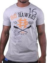 Hawke & Dumar 1968 Go Hawkes Grigio Erica Canottaggio T-Shirt Nwt