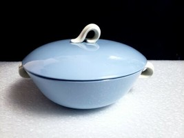 Vintage Homer Laughlin USA Skytone Blue Round Covered Vegetable Serving ... - $16.83