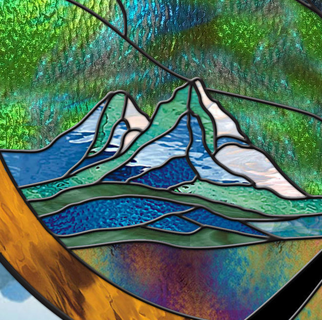 "Stained Glass Window Panel ROUND 30"" Stormy MOUNTAIN Moonlight Tree turquoise bl"