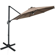 10 Ft Patio Offset Cantilever Umbrella with Solar Lights-Coffee - $321.56