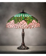 Pink Rose Tiffany Style Stained Glass Table Lamp - $1,728.54