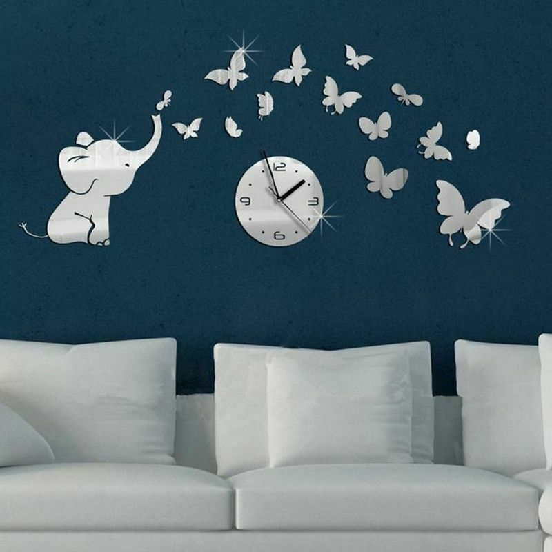 Primary image for Elephant Butterflies Creative DIY Wall Clock Acrylic Stickers Home Decor Gift