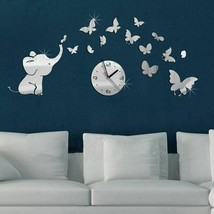 Elephant Butterflies Creative DIY Wall Clock Acrylic Stickers Home Decor... - $17.97