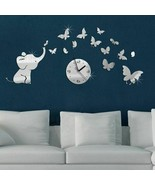 Elephant Butterflies Creative DIY Wall Clock Acrylic Stickers Home Decor... - $17.96