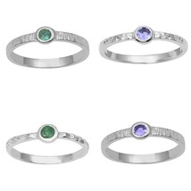 Stackable 925 Fine Silver Set Of 4 Band Emerald Tanzanite Women Solitair... - $23.80+