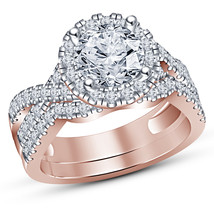 Round Cut Lab Diamond Halo Engagement Ring Wedding Set In 14K Rose Gold ... - $94.99