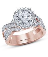 Round Cut Lab Diamond Halo Engagement Ring Wedding Set In 14K Rose Gold ... - $94.99